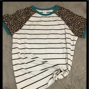 White with black stripes tee shirt